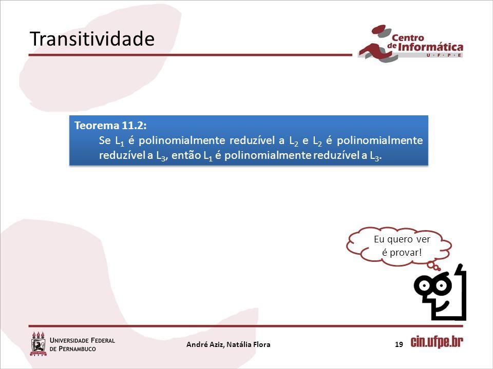 Transitividade André Aziz, Natália Flora19 Eu quero ver é provar! Teorema 11.2: Se L 1 é polinomialmente reduzível a L 2 e L 2 é polinomialmente reduz