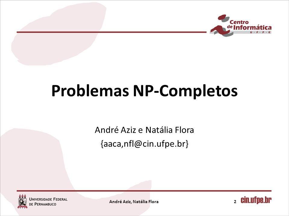 Problemas NP-Completos André Aziz e Natália Flora {aaca,nfl@cin.ufpe.br} 2André Aziz, Natália Flora