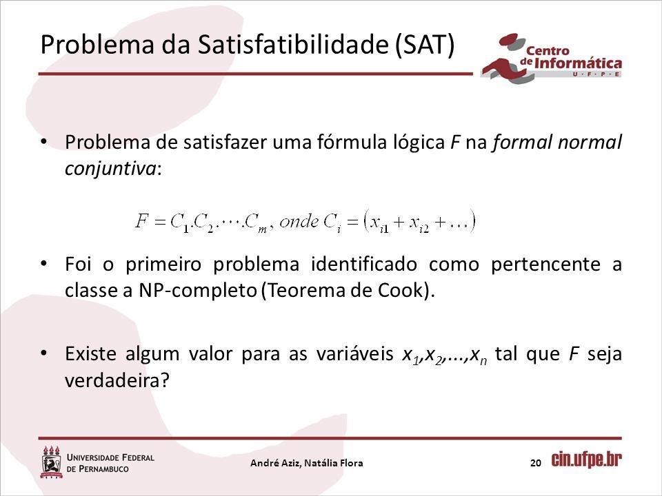 Problema da Satisfatibilidade (SAT) Problema de satisfazer uma fórmula lógica F na formal normal conjuntiva: Foi o primeiro problema identificado como