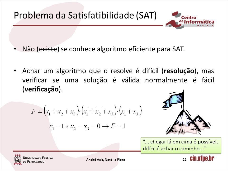 Problema da Satisfatibilidade (SAT) Não (existe) se conhece algoritmo eficiente para SAT. Achar um algoritmo que o resolve é difícil (resolução), mas
