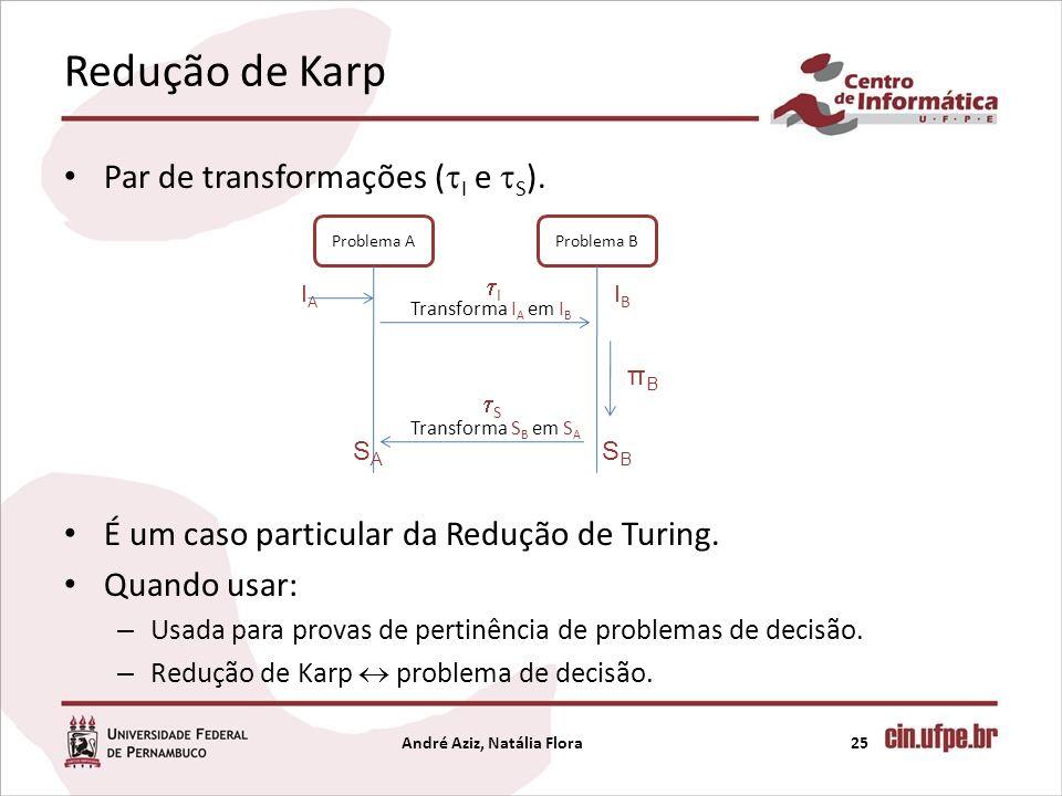 Redução de Karp Par de transformações ( I e S ). É um caso particular da Redução de Turing. Quando usar: – Usada para provas de pertinência de problem