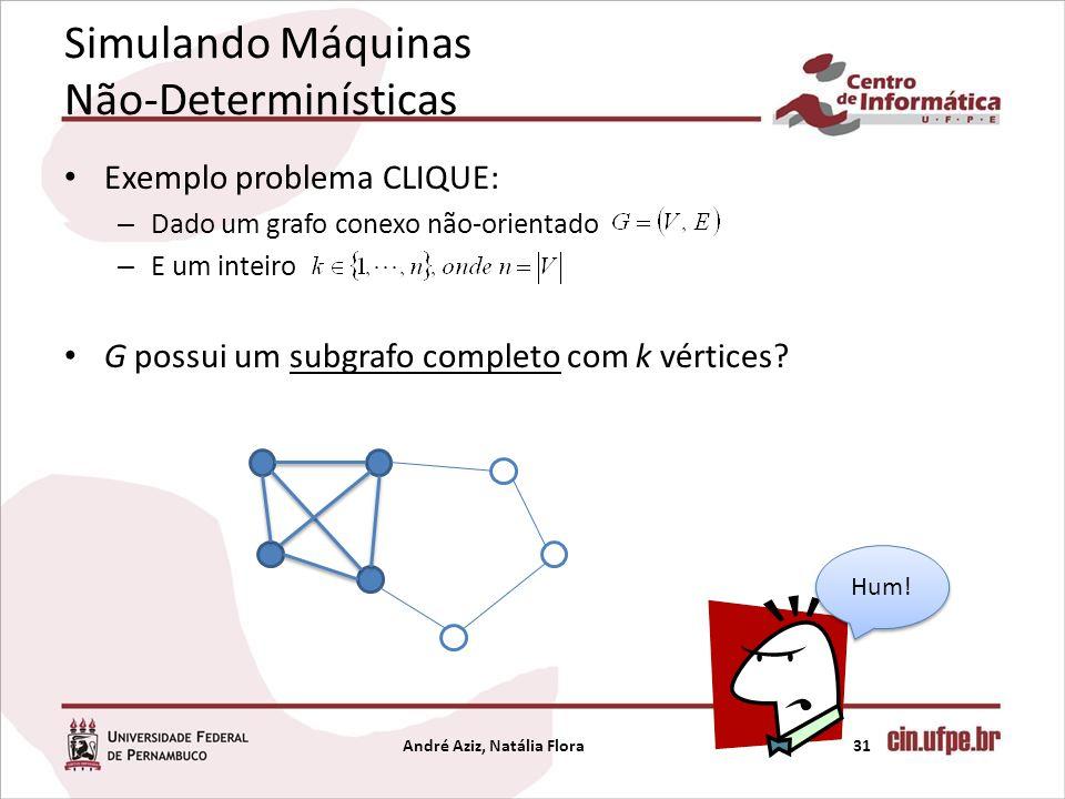 Simulando Máquinas Não-Determinísticas Exemplo problema CLIQUE: – Dado um grafo conexo não-orientado – E um inteiro G possui um subgrafo completo com