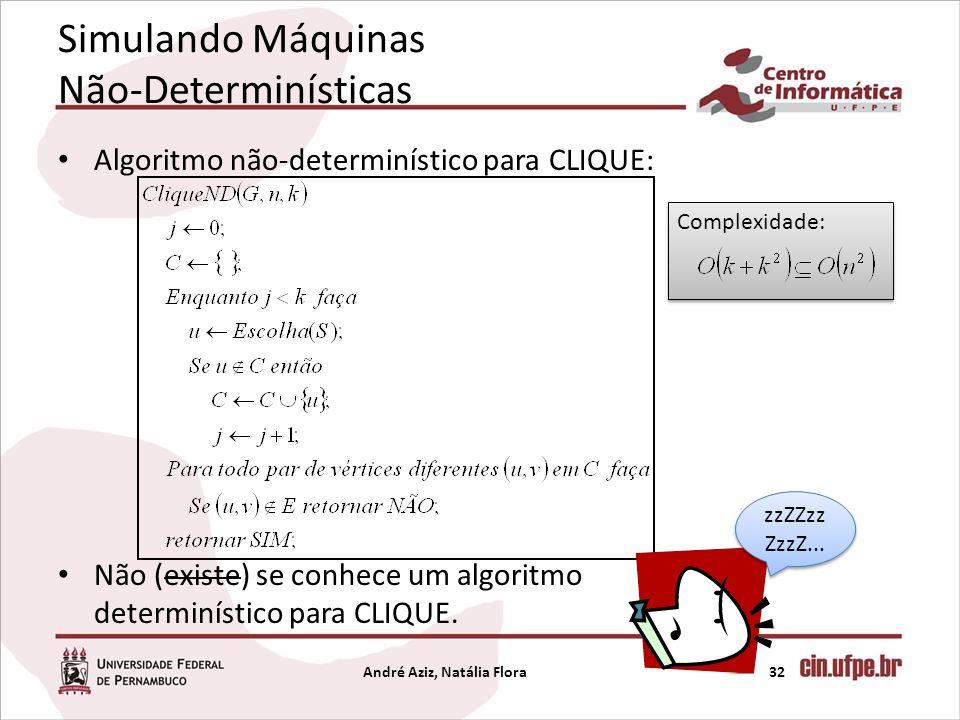 Simulando Máquinas Não-Determinísticas Algoritmo não-determinístico para CLIQUE: Não (existe) se conhece um algoritmo determinístico para CLIQUE. Andr