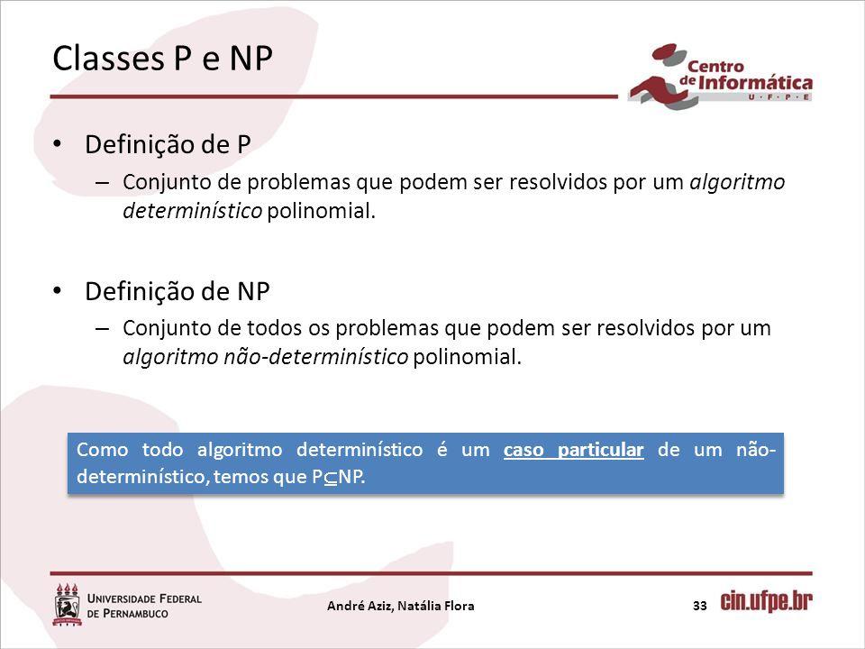 Classes P e NP Definição de P – Conjunto de problemas que podem ser resolvidos por um algoritmo determinístico polinomial. Definição de NP – Conjunto