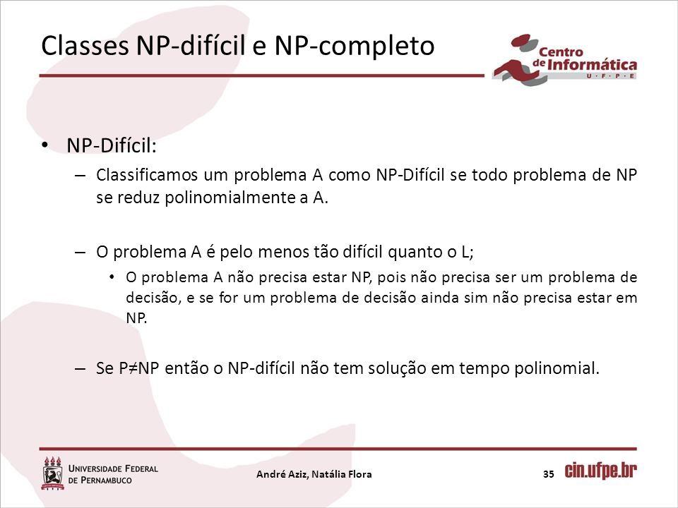 Classes NP-difícil e NP-completo NP-Difícil: – Classificamos um problema A como NP-Difícil se todo problema de NP se reduz polinomialmente a A. – O pr