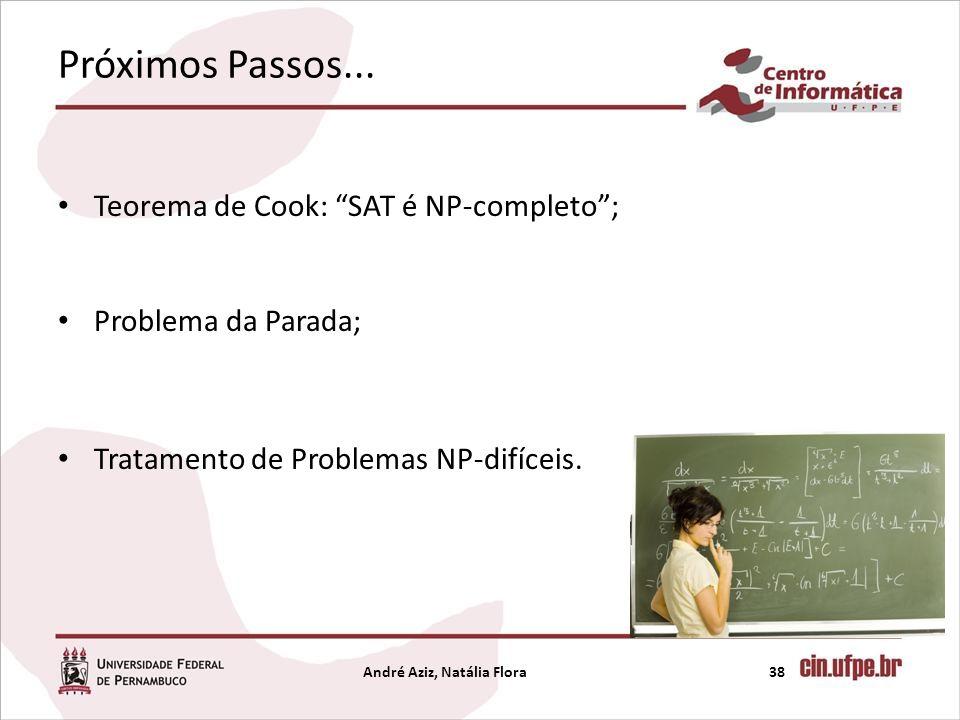 Próximos Passos... Teorema de Cook: SAT é NP-completo; Problema da Parada; Tratamento de Problemas NP-difíceis. André Aziz, Natália Flora38
