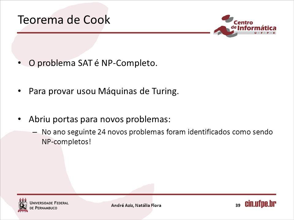 Teorema de Cook O problema SAT é NP-Completo. Para provar usou Máquinas de Turing. Abriu portas para novos problemas: – No ano seguinte 24 novos probl
