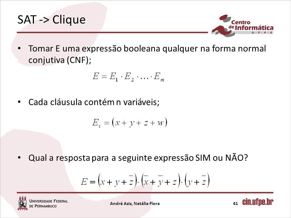 SAT -> Clique Tomar E uma expressão booleana qualquer na forma normal conjutiva (CNF); Cada cláusula contém n variáveis; Qual a resposta para a seguin
