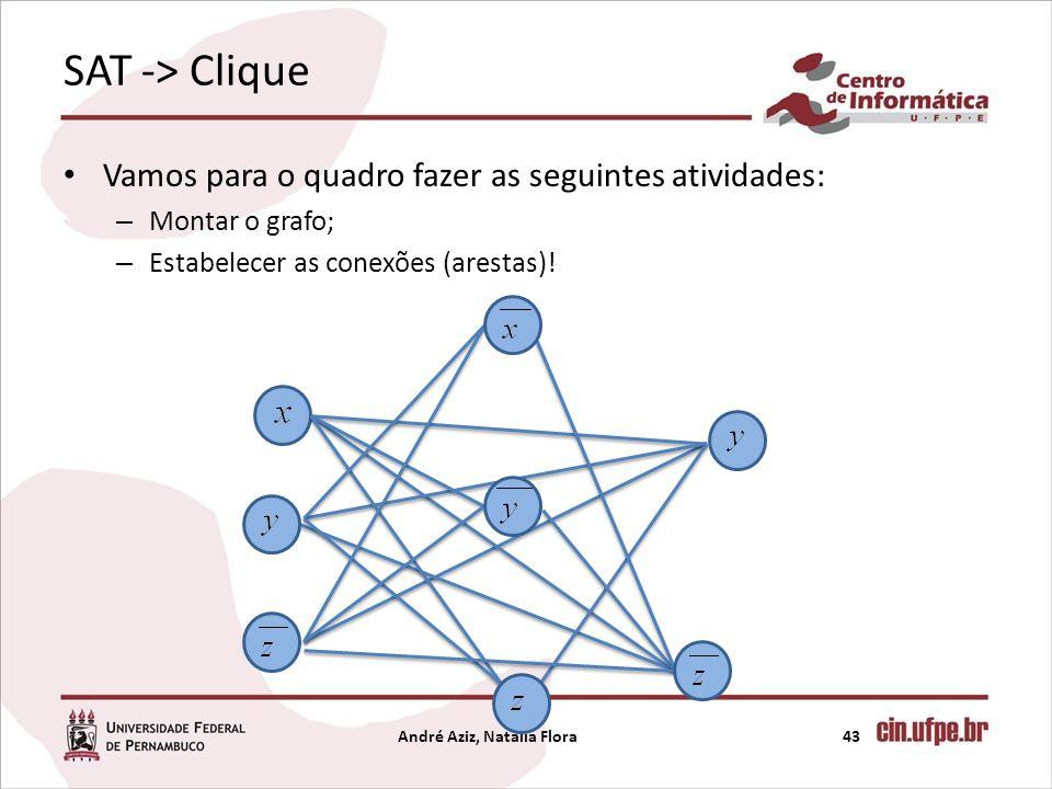 SAT -> Clique Vamos para o quadro fazer as seguintes atividades: – Montar o grafo; – Estabelecer as conexões (arestas)! André Aziz, Natália Flora43