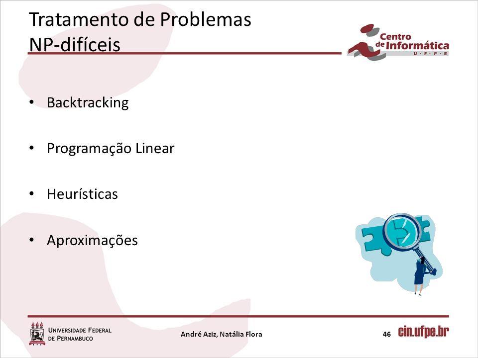 Tratamento de Problemas NP-difíceis Backtracking Programação Linear Heurísticas Aproximações André Aziz, Natália Flora46