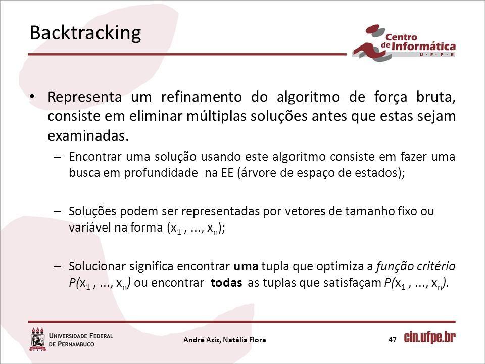 Backtracking Representa um refinamento do algoritmo de força bruta, consiste em eliminar múltiplas soluções antes que estas sejam examinadas. – Encont