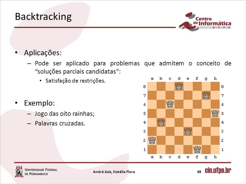 Backtracking Aplicações: – Pode ser aplicado para problemas que admitem o conceito de soluções parciais candidatas: Satisfação de restrições. Exemplo: