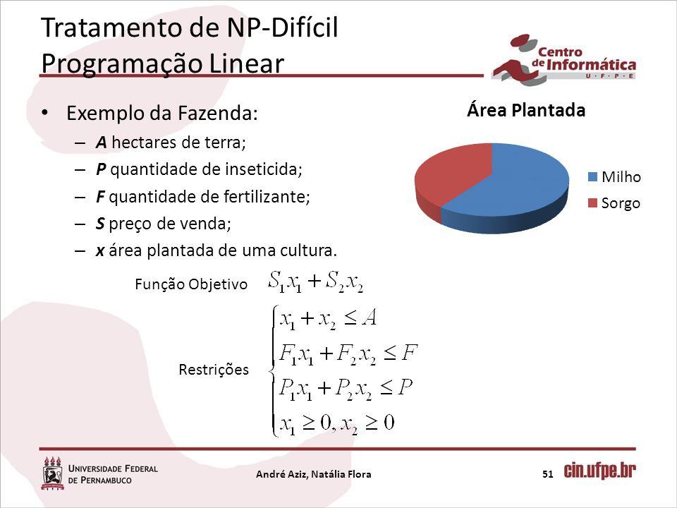 Tratamento de NP-Difícil Programação Linear Exemplo da Fazenda: – A hectares de terra; – P quantidade de inseticida; – F quantidade de fertilizante; –