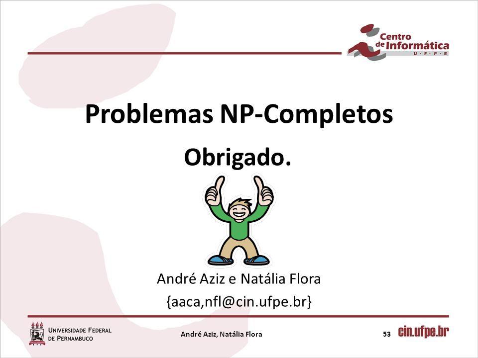 Problemas NP-Completos André Aziz e Natália Flora {aaca,nfl@cin.ufpe.br} 53André Aziz, Natália Flora Obrigado.