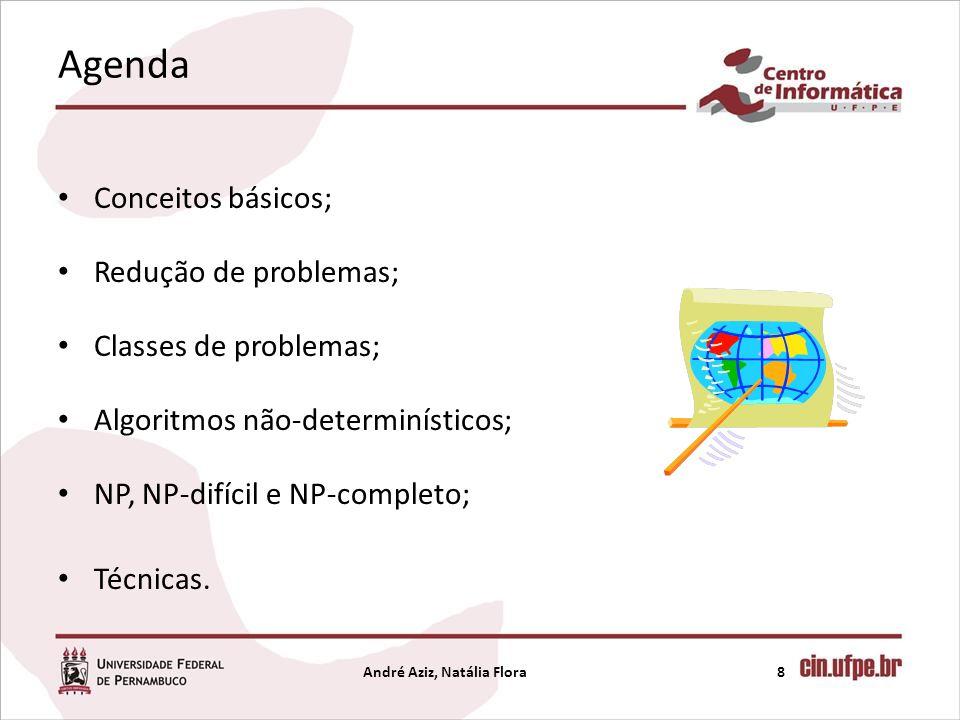 Agenda Conceitos básicos; Redução de problemas; Classes de problemas; Algoritmos não-determinísticos; NP, NP-difícil e NP-completo; Técnicas. André Az