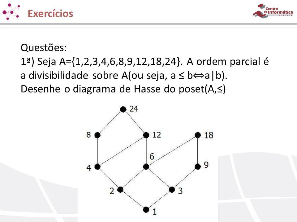 Questões: 1ª) Seja A={1,2,3,4,6,8,9,12,18,24}. A ordem parcial é a divisibilidade sobre A(ou seja, a b a b). Desenhe o diagrama de Hasse do poset(A,)