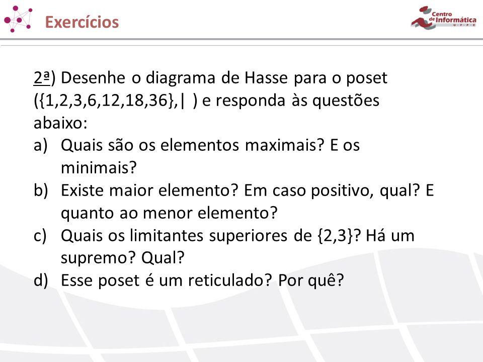 2ª) Desenhe o diagrama de Hasse para o poset ({1,2,3,6,12,18,36},  ) e responda às questões abaixo: a)Quais são os elementos maximais? E os minimais?