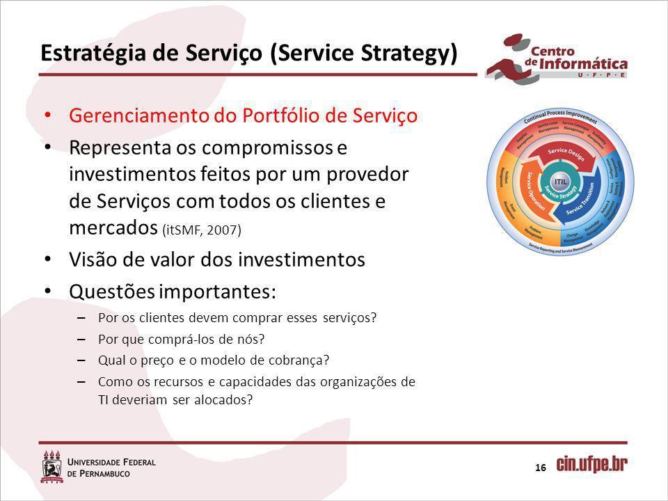 Estratégia de Serviço (Service Strategy) 16 Gerenciamento do Portfólio de Serviço Representa os compromissos e investimentos feitos por um provedor de