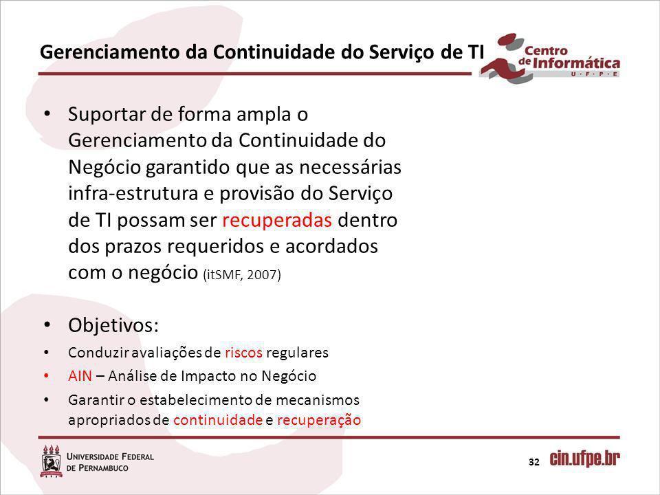 Gerenciamento da Continuidade do Serviço de TI 32 Suportar de forma ampla o Gerenciamento da Continuidade do Negócio garantido que as necessárias infra-estrutura e provisão do Serviço de TI possam ser recuperadas dentro dos prazos requeridos e acordados com o negócio (itSMF, 2007) Objetivos: Conduzir avaliações de riscos regulares AIN – Análise de Impacto no Negócio Garantir o estabelecimento de mecanismos apropriados de continuidade e recuperação
