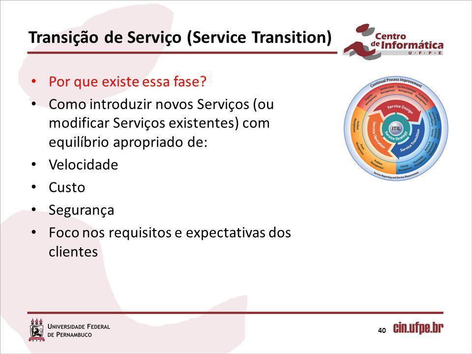 Transição de Serviço (Service Transition) 40 Por que existe essa fase? Como introduzir novos Serviços (ou modificar Serviços existentes) com equilíbri