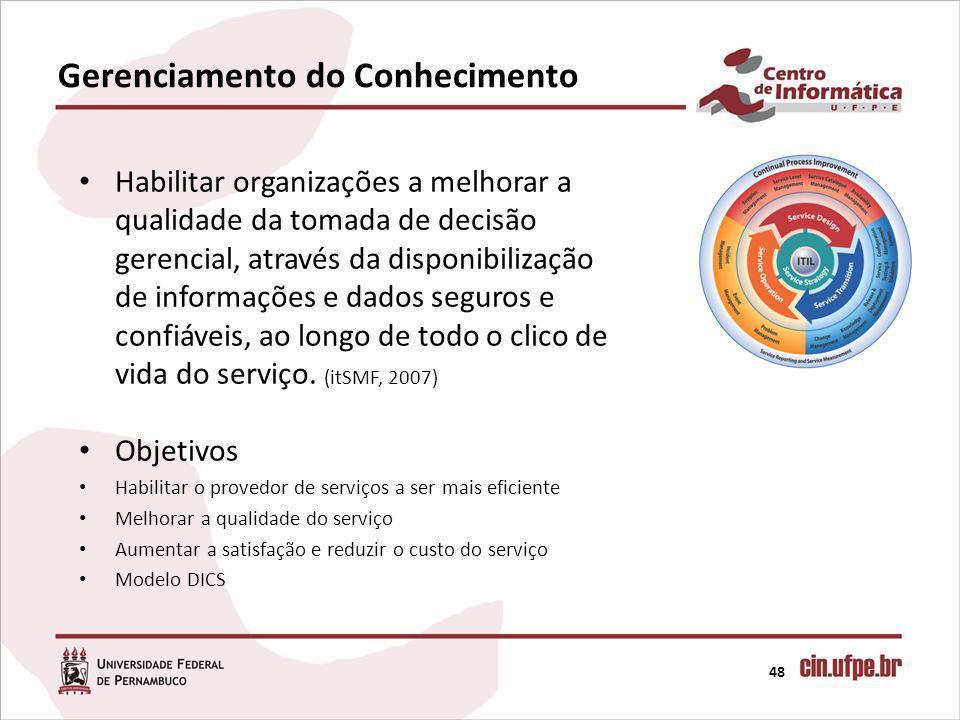 Gerenciamento do Conhecimento 48 Habilitar organizações a melhorar a qualidade da tomada de decisão gerencial, através da disponibilização de informaç