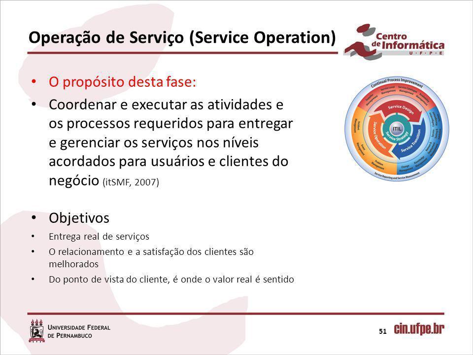 Operação de Serviço (Service Operation) 51 O propósito desta fase: Coordenar e executar as atividades e os processos requeridos para entregar e gerenc