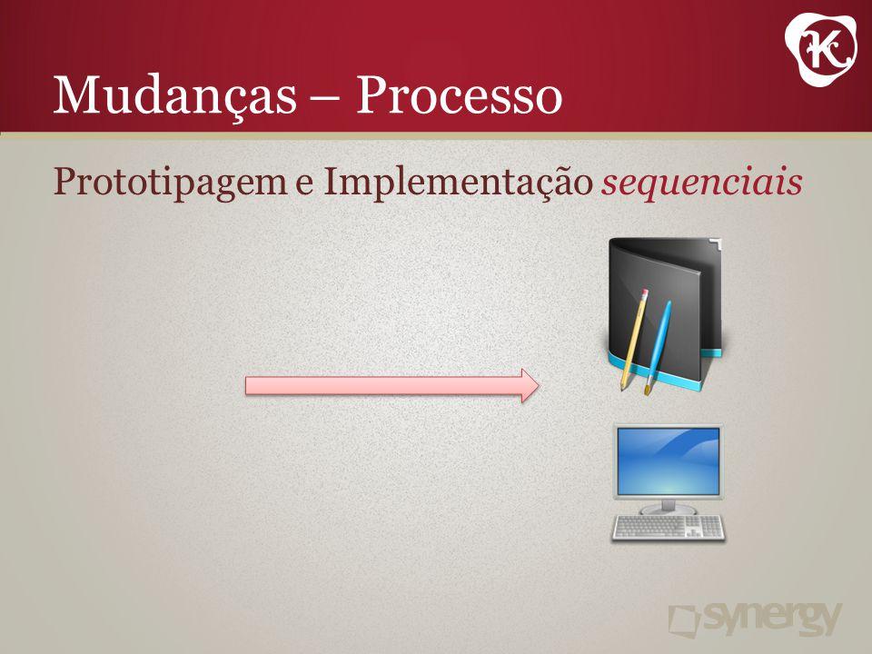Mudanças – Processo Prototipagem e Implementação sequenciais