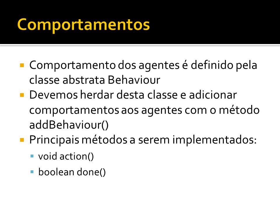 Comportamento dos agentes é definido pela classe abstrata Behaviour Devemos herdar desta classe e adicionar comportamentos aos agentes com o método ad