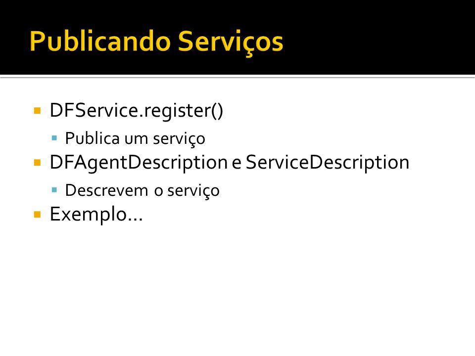 DFService.register() Publica um serviço DFAgentDescription e ServiceDescription Descrevem o serviço Exemplo...