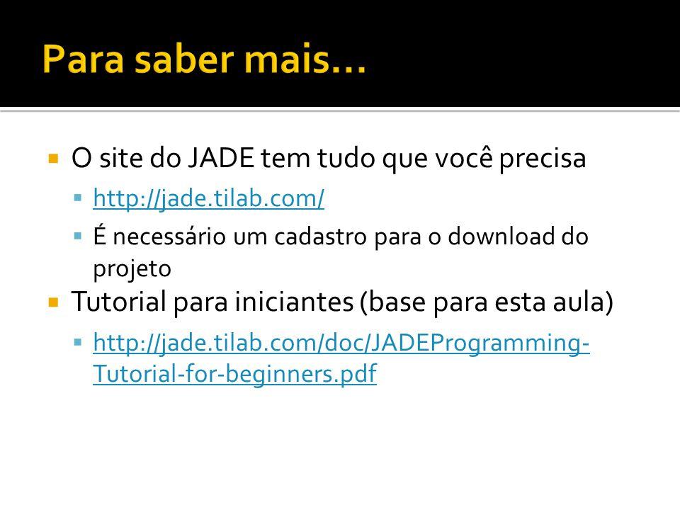 O site do JADE tem tudo que você precisa http://jade.tilab.com/ É necessário um cadastro para o download do projeto Tutorial para iniciantes (base par