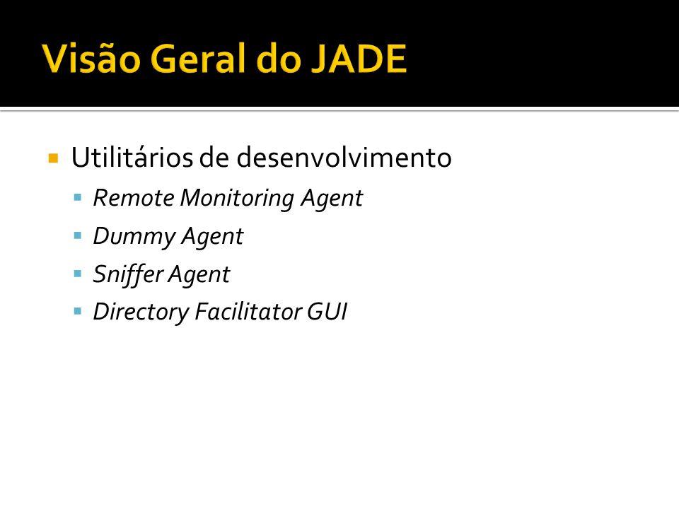 Utilitários de desenvolvimento Remote Monitoring Agent Dummy Agent Sniffer Agent Directory Facilitator GUI