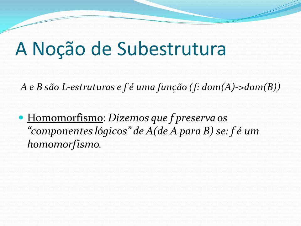A Noção de Subestrutura A e B são L-estruturas e f é uma função (f: dom(A)->dom(B)) Homomorfismo: Dizemos que f preserva os componentes lógicos de A(d