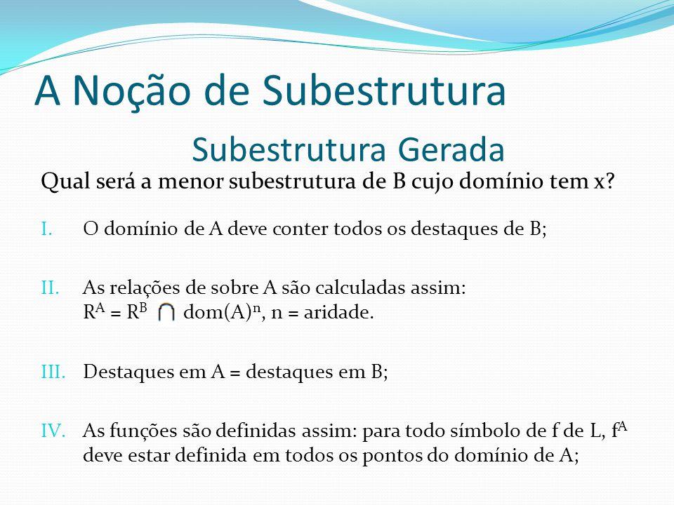 Qual será a menor subestrutura de B cujo domínio tem x? I. O domínio de A deve conter todos os destaques de B; II. As relações de sobre A são calculad