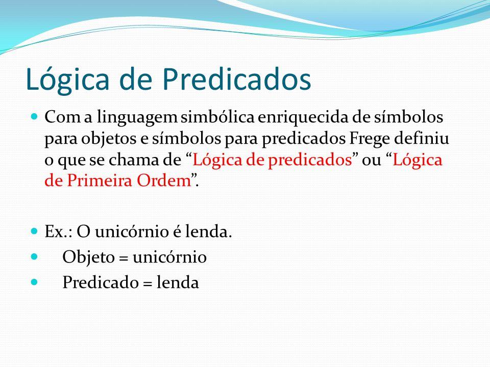 Lógica de Predicados Com a linguagem simbólica enriquecida de símbolos para objetos e símbolos para predicados Frege definiu o que se chama de Lógica