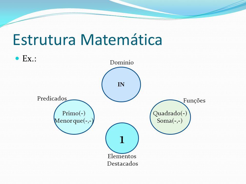 Estrutura Matemática Ex.: O número 3 é primo.4 não é menor que 1.