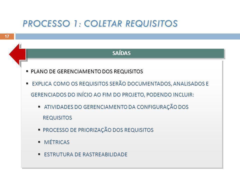 PLANO DE GERENCIAMENTO DOS REQUISITOS PLANO DE GERENCIAMENTO DOS REQUISITOS EXPLICA COMO OS REQUISITOS SERÃO DOCUMENTADOS, ANALISADOS E GERENCIADOS DO INÍCIO AO FIM DO PROJETO, PODENDO INCLUIR: EXPLICA COMO OS REQUISITOS SERÃO DOCUMENTADOS, ANALISADOS E GERENCIADOS DO INÍCIO AO FIM DO PROJETO, PODENDO INCLUIR: ATIVIDADES DO GERENCIAMENTO DA CONFIGURAÇÃO DOS REQUISITOS ATIVIDADES DO GERENCIAMENTO DA CONFIGURAÇÃO DOS REQUISITOS PROCESSO DE PRIORIZAÇÃO DOS REQUISITOS PROCESSO DE PRIORIZAÇÃO DOS REQUISITOS MÉTRICAS MÉTRICAS ESTRUTURA DE RASTREABILIDADE ESTRUTURA DE RASTREABILIDADE PLANO DE GERENCIAMENTO DOS REQUISITOS PLANO DE GERENCIAMENTO DOS REQUISITOS EXPLICA COMO OS REQUISITOS SERÃO DOCUMENTADOS, ANALISADOS E GERENCIADOS DO INÍCIO AO FIM DO PROJETO, PODENDO INCLUIR: EXPLICA COMO OS REQUISITOS SERÃO DOCUMENTADOS, ANALISADOS E GERENCIADOS DO INÍCIO AO FIM DO PROJETO, PODENDO INCLUIR: ATIVIDADES DO GERENCIAMENTO DA CONFIGURAÇÃO DOS REQUISITOS ATIVIDADES DO GERENCIAMENTO DA CONFIGURAÇÃO DOS REQUISITOS PROCESSO DE PRIORIZAÇÃO DOS REQUISITOS PROCESSO DE PRIORIZAÇÃO DOS REQUISITOS MÉTRICAS MÉTRICAS ESTRUTURA DE RASTREABILIDADE ESTRUTURA DE RASTREABILIDADE SAÍDAS PROCESSO 1: COLETAR REQUISITOS 17