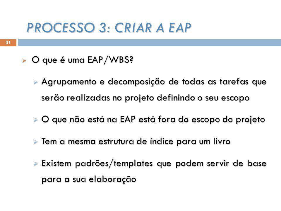31 O que é uma EAP/WBS. O que é uma EAP/WBS.