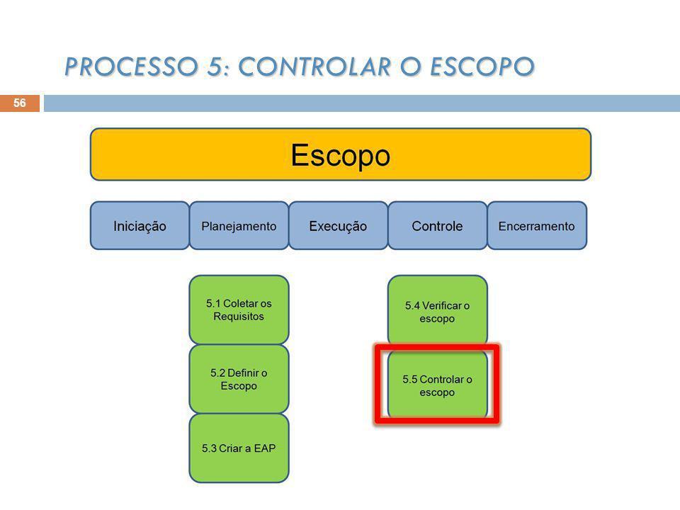 56 PROCESSO 5: CONTROLAR O ESCOPO