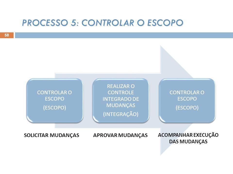 58 PROCESSO 5: CONTROLAR O ESCOPO CONTROLAR O ESCOPO (ESCOPO) REALIZAR O CONTROLE INTEGRADO DE MUDANÇAS (INTEGRAÇÃO) CONTROLAR O ESCOPO (ESCOPO) SOLICITAR MUDANÇASAPROVAR MUDANÇAS ACOMPANHAR EXECUÇÃO DAS MUDANÇAS