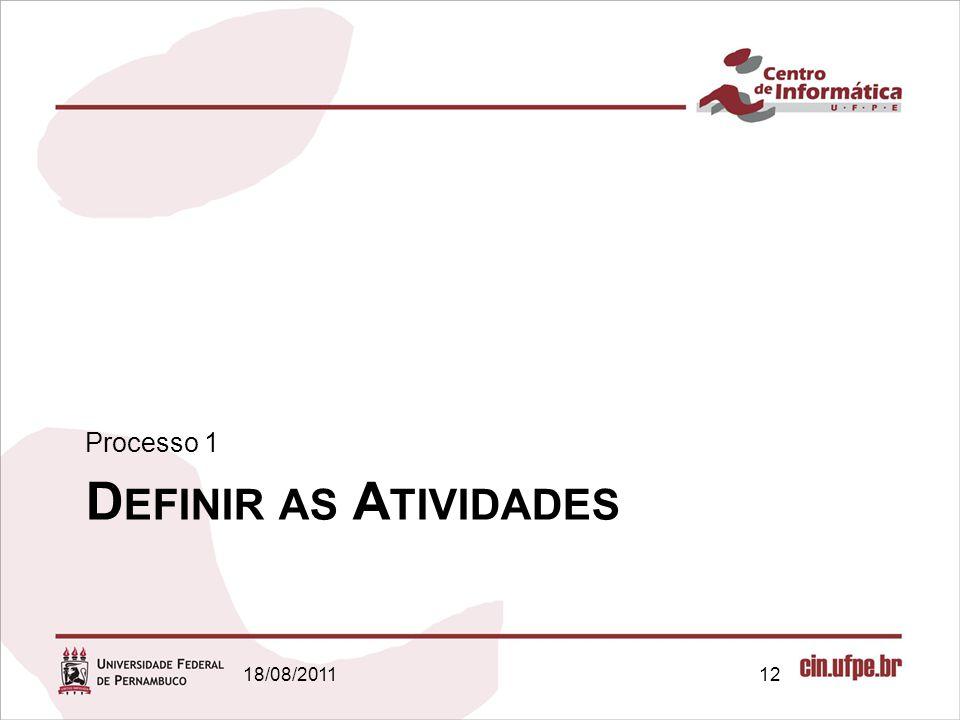 D EFINIR AS A TIVIDADES Processo 1 18/08/201112
