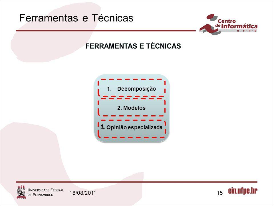 Ferramentas e Técnicas 18/08/201115 1.Decomposição 2. Modelos 3. Opinião especializada 1.Decomposição 2. Modelos 3. Opinião especializada \
