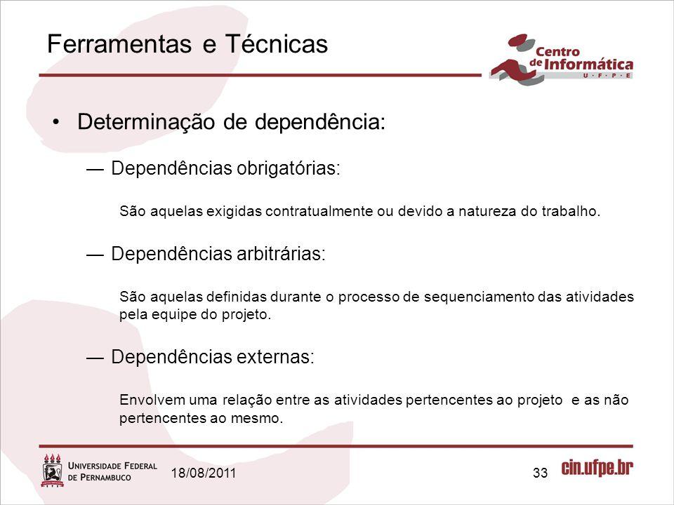 Ferramentas e Técnicas 18/08/201133 Determinação de dependência: Dependências obrigatórias: São aquelas exigidas contratualmente ou devido a natureza