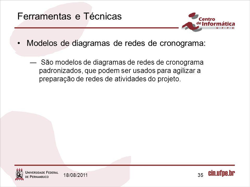 Ferramentas e Técnicas 18/08/201135 Modelos de diagramas de redes de cronograma: São modelos de diagramas de redes de cronograma padronizados, que pod