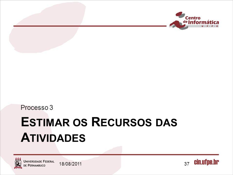E STIMAR OS R ECURSOS DAS A TIVIDADES Processo 3 18/08/201137