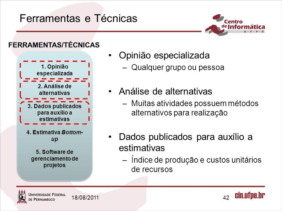 Ferramentas e Técnicas 18/08/201142 Opinião especializada –Qualquer grupo ou pessoa Análise de alternativas –Muitas atividades possuem métodos alterna