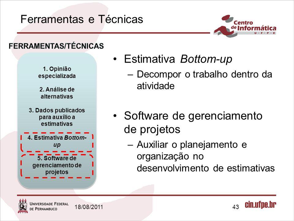 Ferramentas e Técnicas 18/08/201143 1. Opinião especializada 2. Análise de alternativas 3. Dados publicados para auxílio a estimativas 4. Estimativa B
