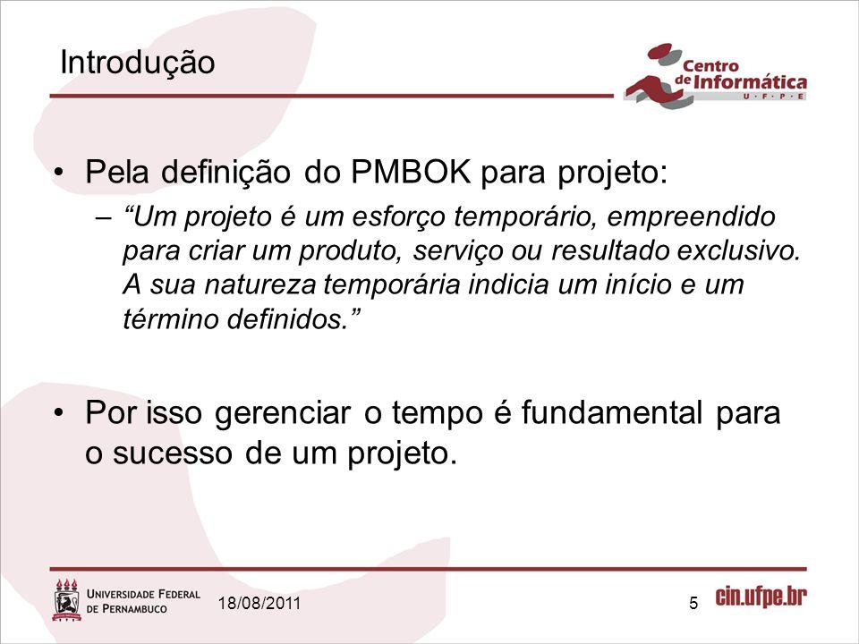 Introdução Pela definição do PMBOK para projeto: –Um projeto é um esforço temporário, empreendido para criar um produto, serviço ou resultado exclusiv