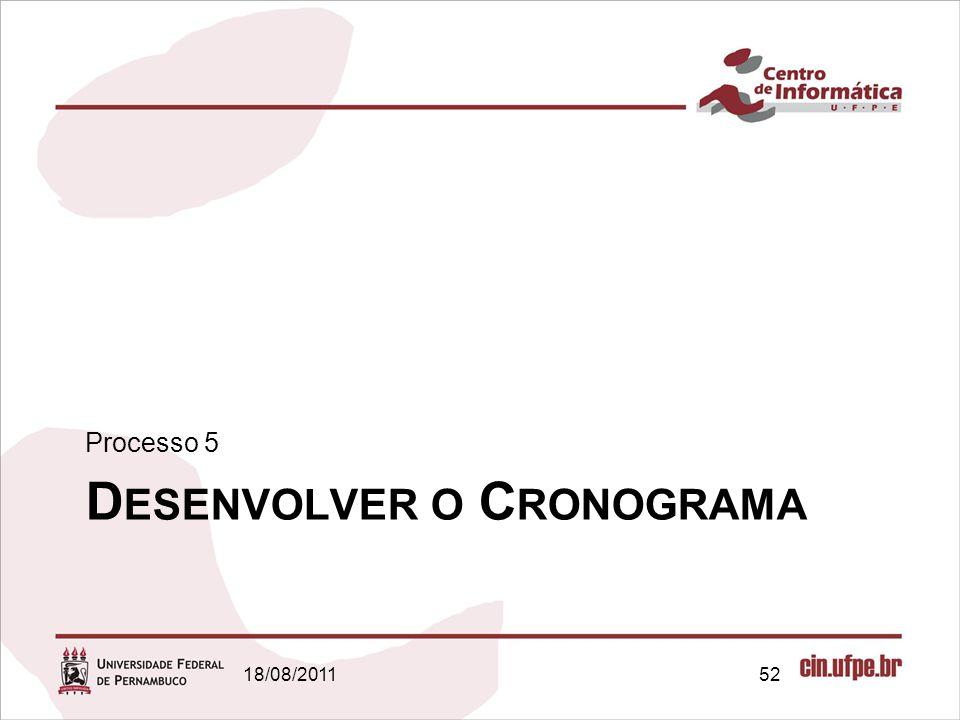 D ESENVOLVER O C RONOGRAMA Processo 5 18/08/201152