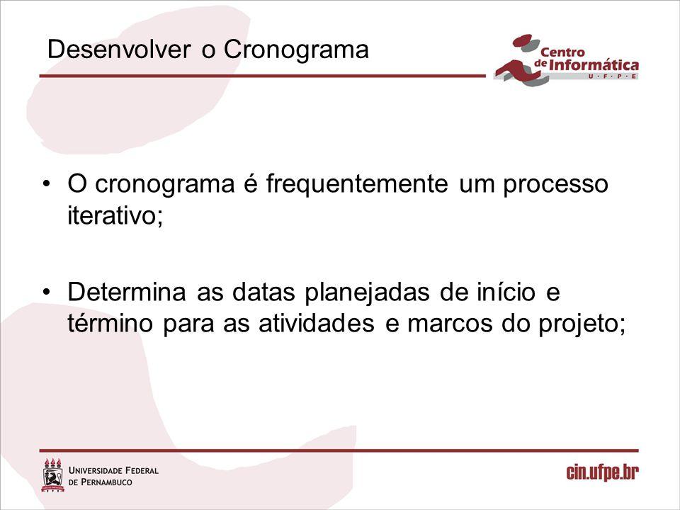 Desenvolver o Cronograma O cronograma é frequentemente um processo iterativo; Determina as datas planejadas de início e término para as atividades e m