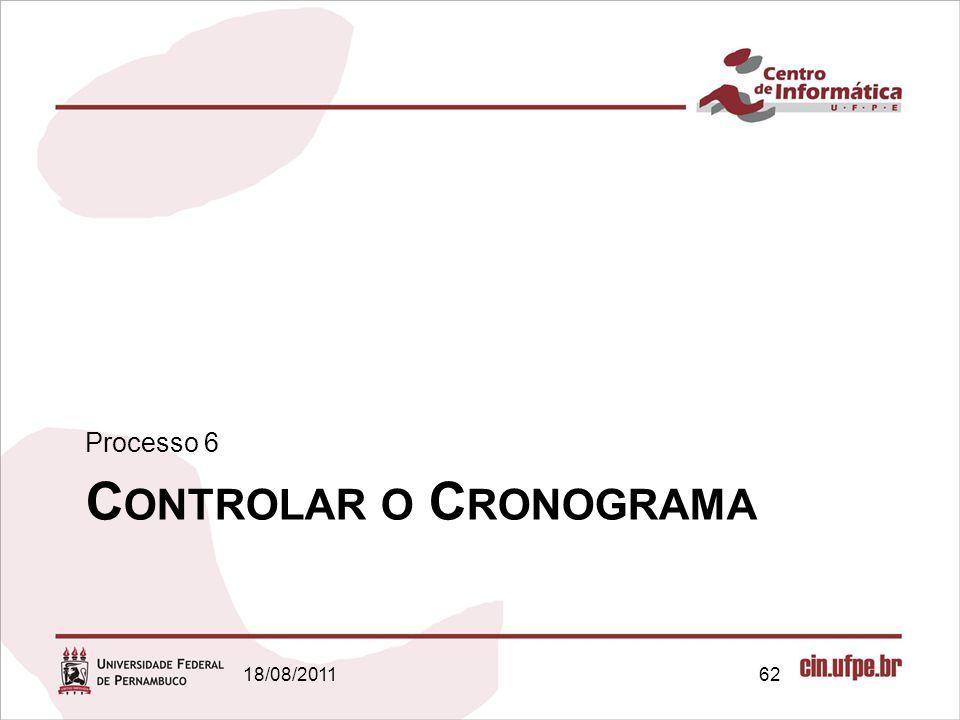 C ONTROLAR O C RONOGRAMA Processo 6 18/08/201162